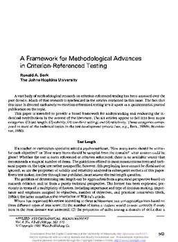 Criterion-referenced research paper