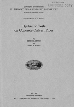 Hydraulic Tests on Concrete Culvert Pipes
