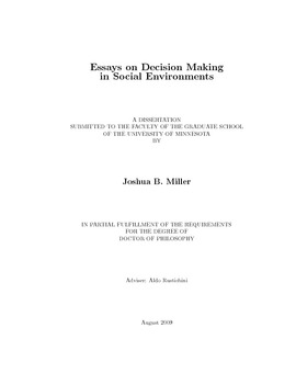 Essays On Decision Making In Social Environments Thumbnail