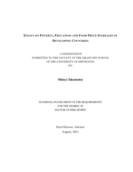 essays on poverty education and food price increases in thumbnail