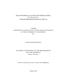 Gain scheduling of an extended Kalman Filter for use in an attitude