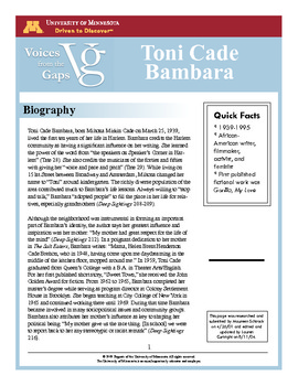 bambara by cade essay lesson toni Toni cade bambara's short story, the lesson, takes place in inner city new yorkthe main character, sylvia, is a fourteen year old african american girl, who tells the story in a first person narrative sylvia mentions miss moore, a teacher who felt that it was her duty to help underprivileged children learn.