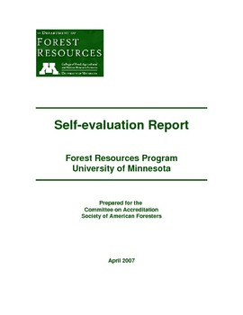 Self Evaluation Report Forest Resources Program University Of