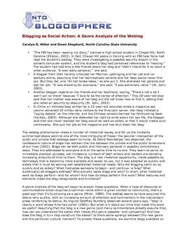 Blogging as Social Action: A Genre Analysis of the Weblog