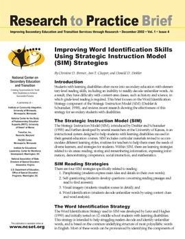 Improving Word Identification Skills Using Strategic Instruction
