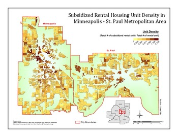 Map of Subsidized Rental Housing Unit Density in Minneapolis - St ...