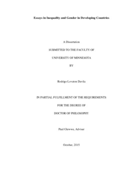 Essays in Inequality and Gender in Developing Countries