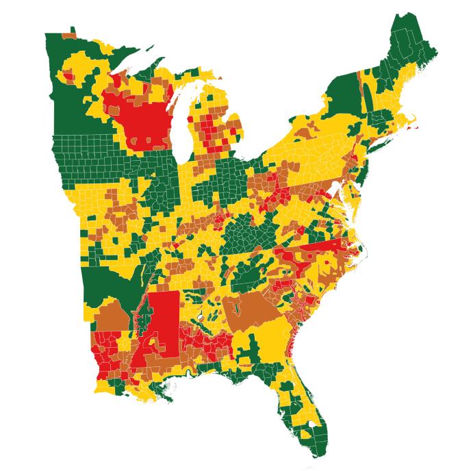 Us Whitetail Deer Population Map White tailed deer density estimates across the eastern United