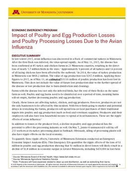 Impact of Poultry and Egg Production Losses and Poultry Processing