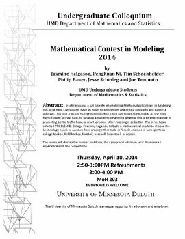 Mathematical Contest in Modeling 2014