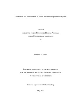 undergraduate honors theses calibration and improvement of a fuel reformer vaporization system