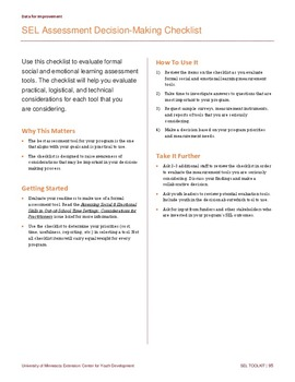 SEL Assessment Decision-Making Checklist