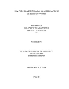 essays on human capital labor and migration in developing countries digital conservancy