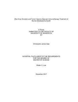 Zika Virus Oncolytic and Tumor Vaccine Adjuvant Immunotherapy