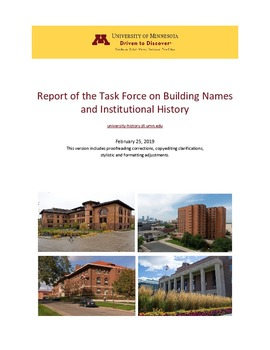 Report of the Task Force on Building Names and Institutional History