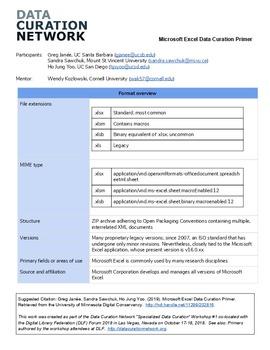 Microsoft Excel Data Curation Primer