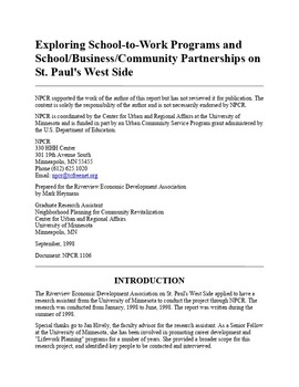 Exploring School-to-Work Programs and School/Business