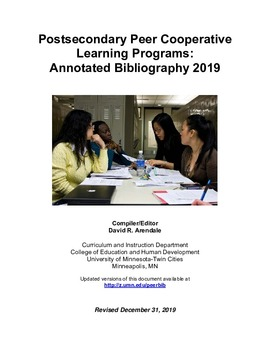Postsecondary Peer Cooperative Learning Programs Annotated Bibliography 2019