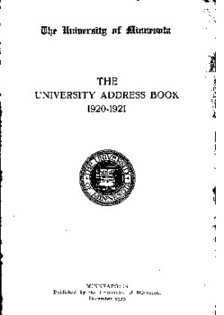 W4t lItuintrsitg nf jlituttsnta: THE UNIVERSITY ADDRESS BOOK