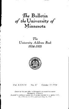 Ihe Bulletin oftheUniversity of Minnesota