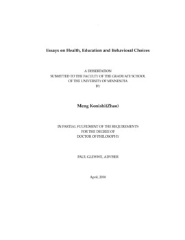 essays on health education and behavioral choices thumbnail