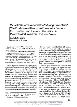 What if we administered the wrong inventory? The prediction of ...